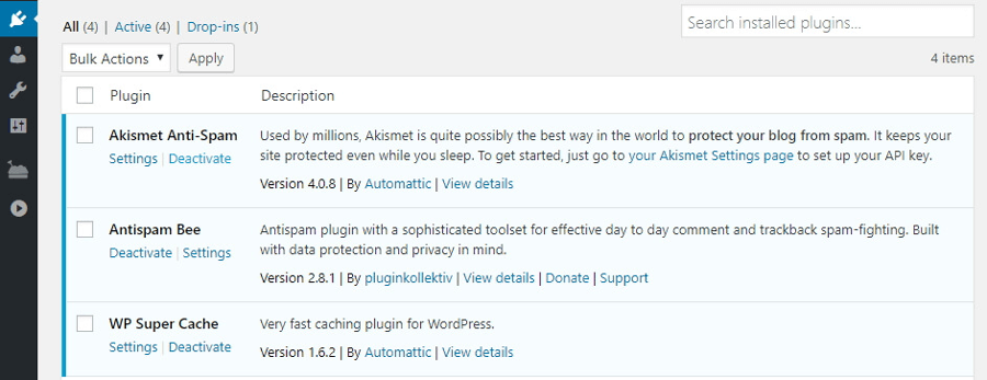 The WordPress plugins tab.