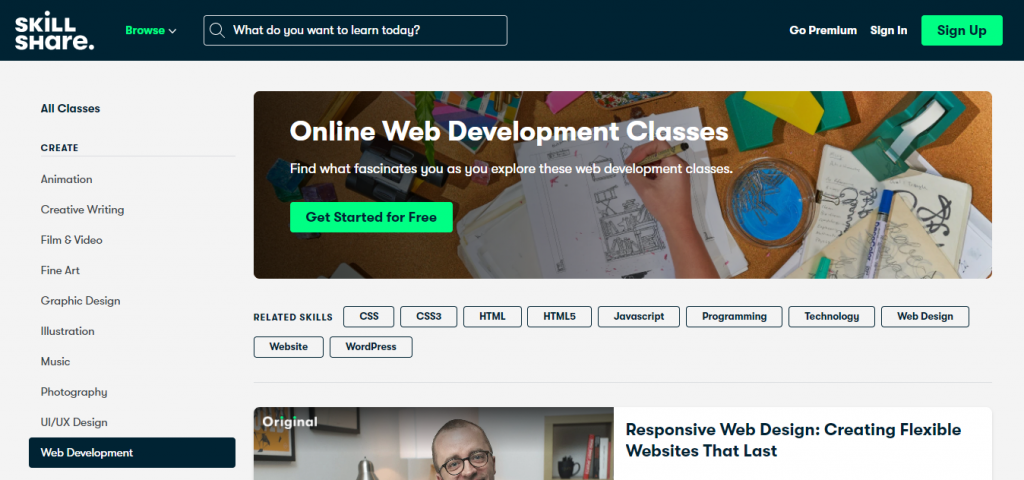 Learn web development with SkillShare