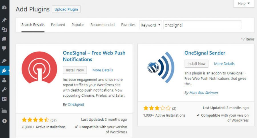 Installing OneSignal WordPress push notification plugin