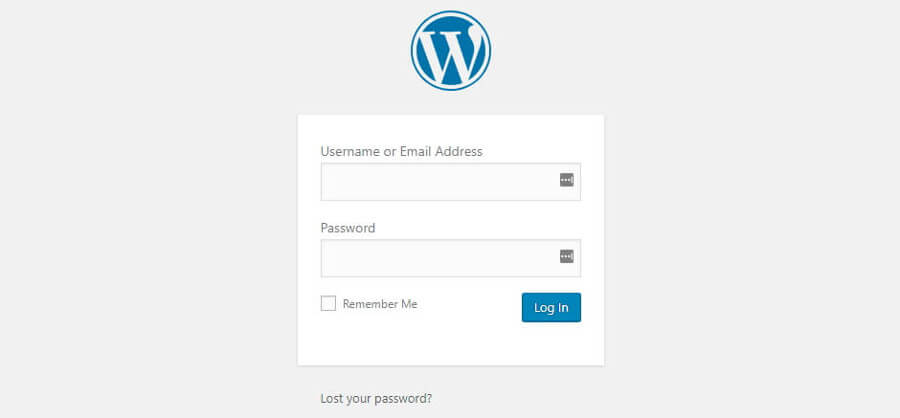 A WordPress login screen.