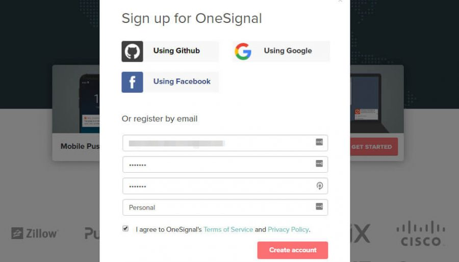 Signing up for OneSignal.