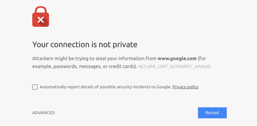 A Chrome SSL error.