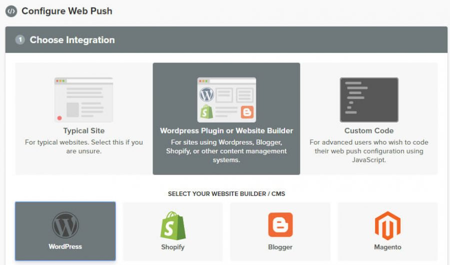 Choosing the WordPress notification option.