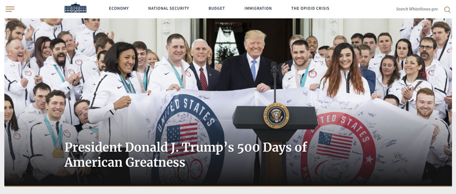 The White House website with President Donald Trump