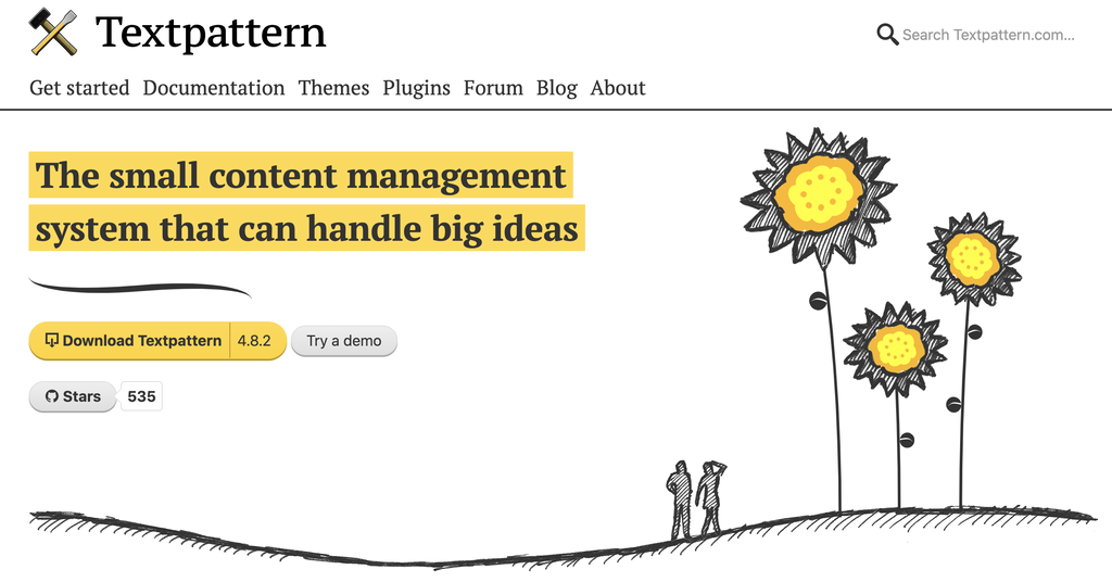 home and download page for Textpattern CMS and blogging platform