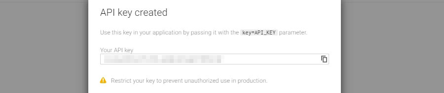 An example of a Google API key.