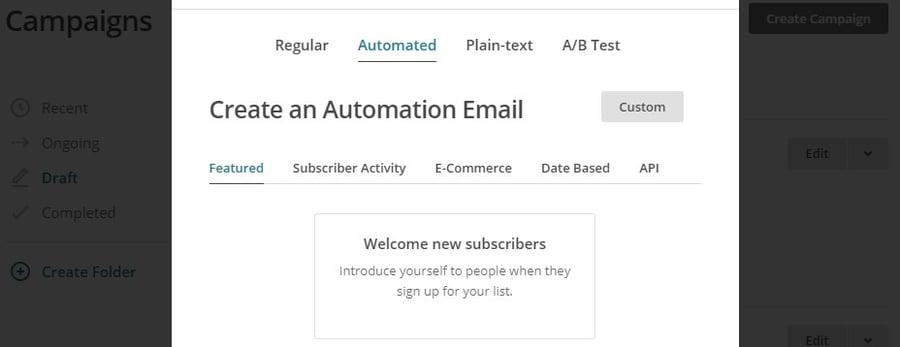 Création d'un email de bienvenue.