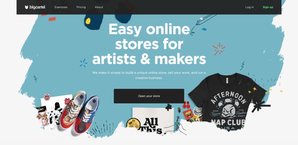 Big Cartel home page.