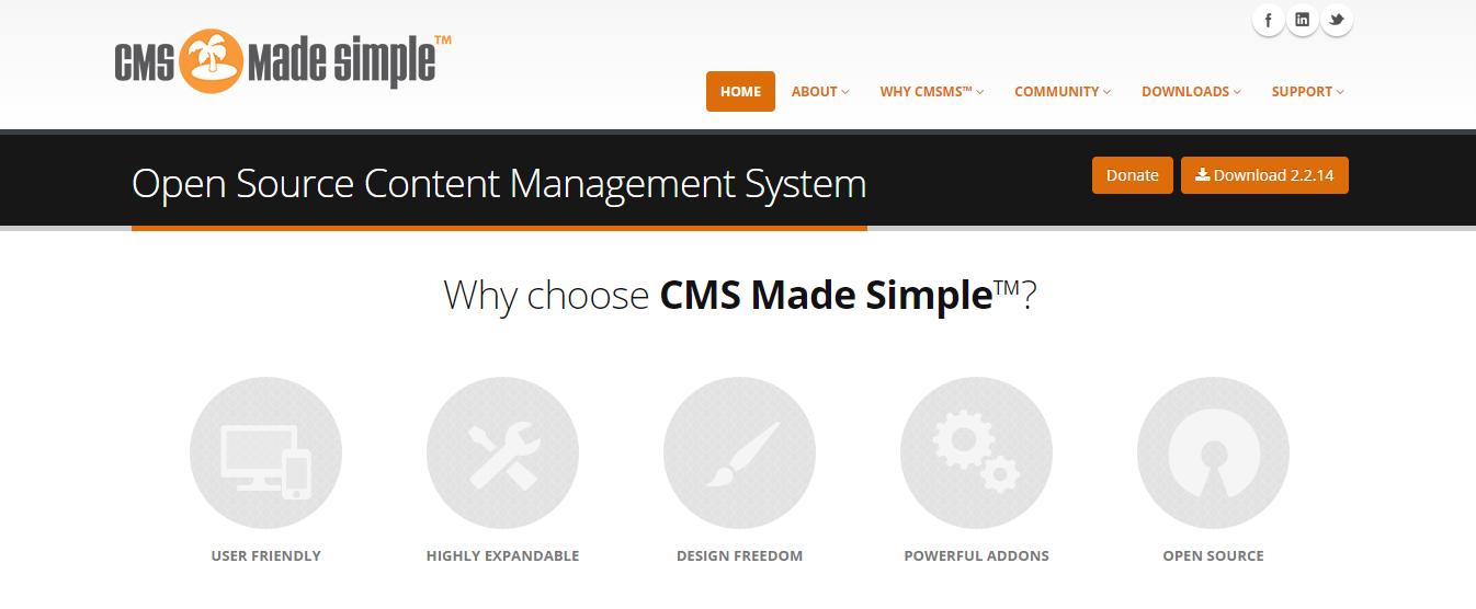 CMS made simple blogging platform