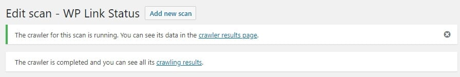 The plugin's crawler results.