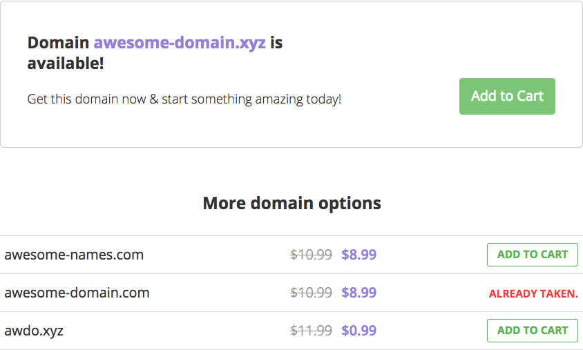 Looking up domain name options