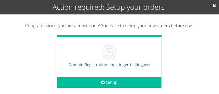 Domain name setup screen