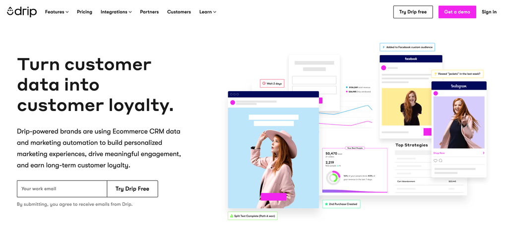 Drip frontpage – eCommerce customer relationship management platform.