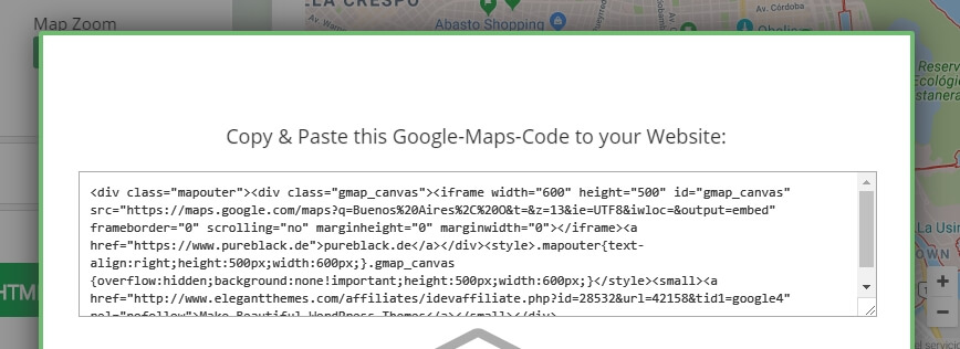 An example of a Google Maps embed code.