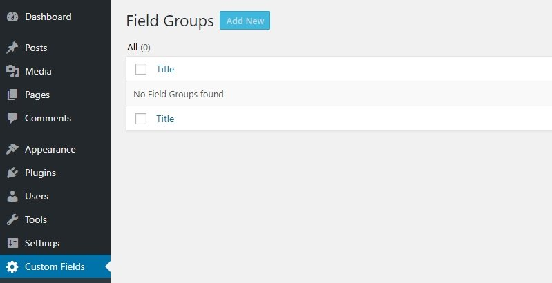 Creating a new custom field group.