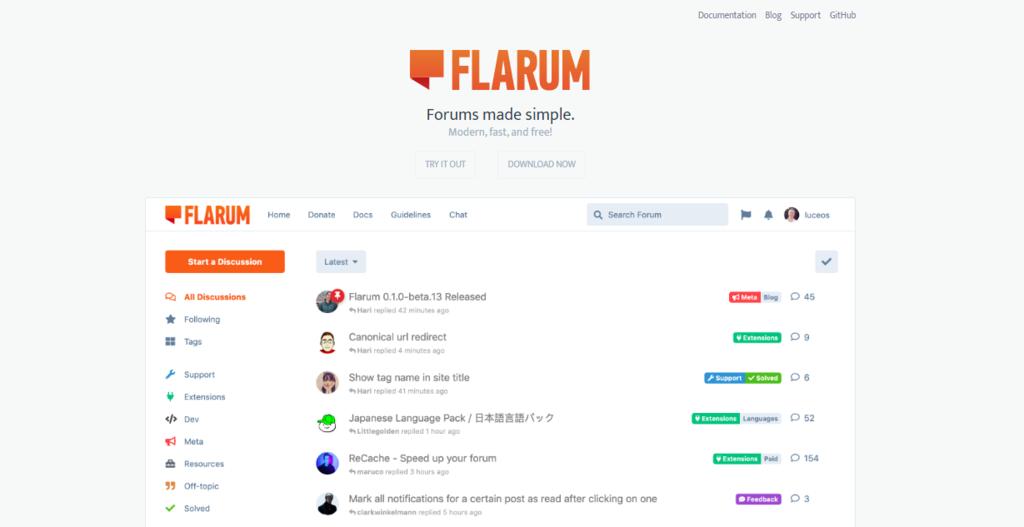 Screenshot of Flarum homepage