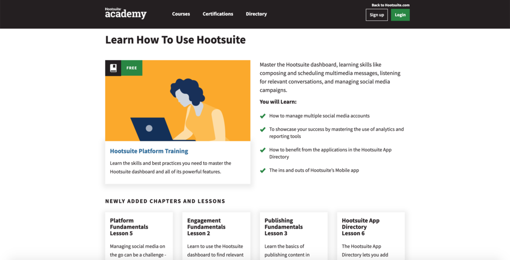 An example of Hootsuite Academy courses.