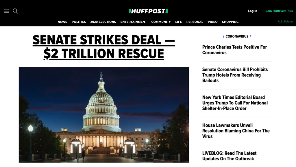 Page d'accueil de Huffpost.