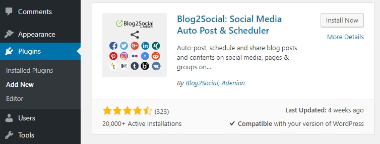 Installing the Blog2Social plugin.