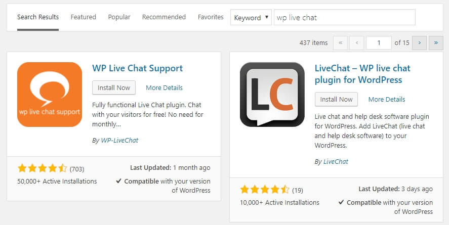 Installing the WP Live Chat Support plugin.