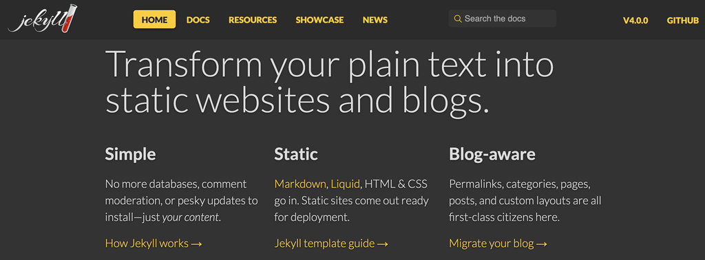 The Jekyll blogging platform homepage.