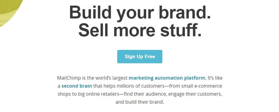 La page d'accueil de MailChimp.