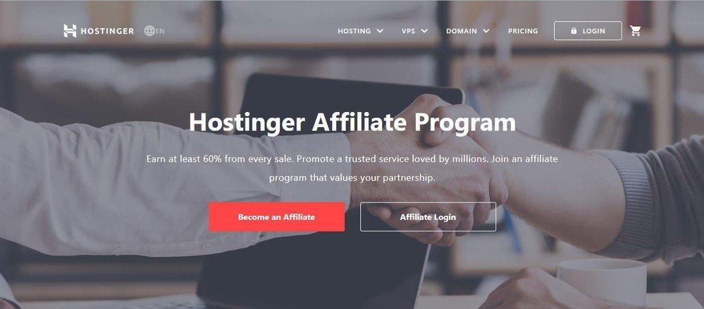 A screenshot showing Hostinger's affliate program page