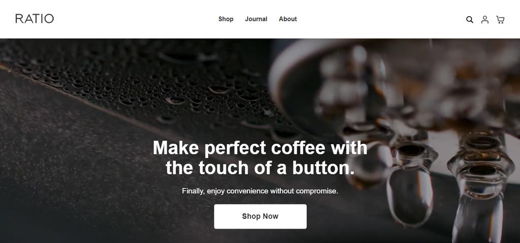 A screenshot showing Ratio's homepage