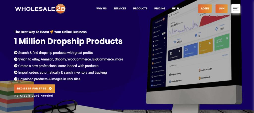 A screenshot showing Wholesale2B's homepage