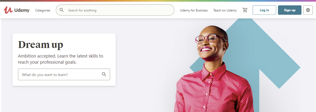 A screenshot showing Udemy's page