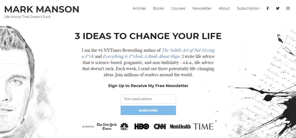 A screenshot showing Mark Manson website's homepage
