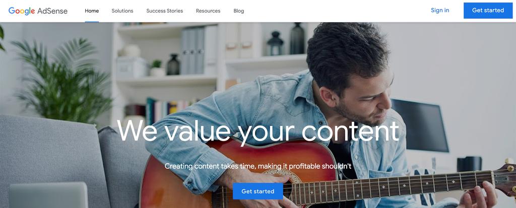 A screenshot showing Google Adsense's homepage