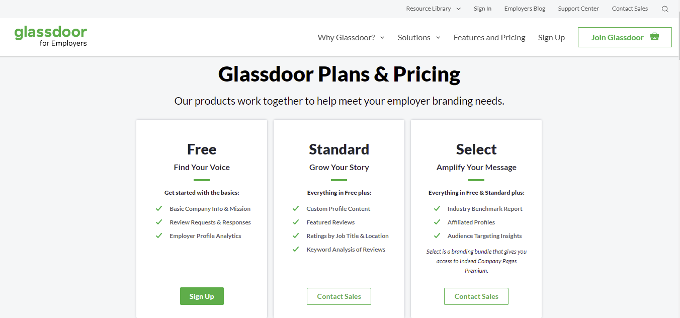 A screenshot showing Glassdor's plans and pricing