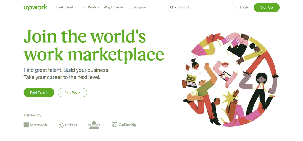 A screenshot showing Upwork's homepage