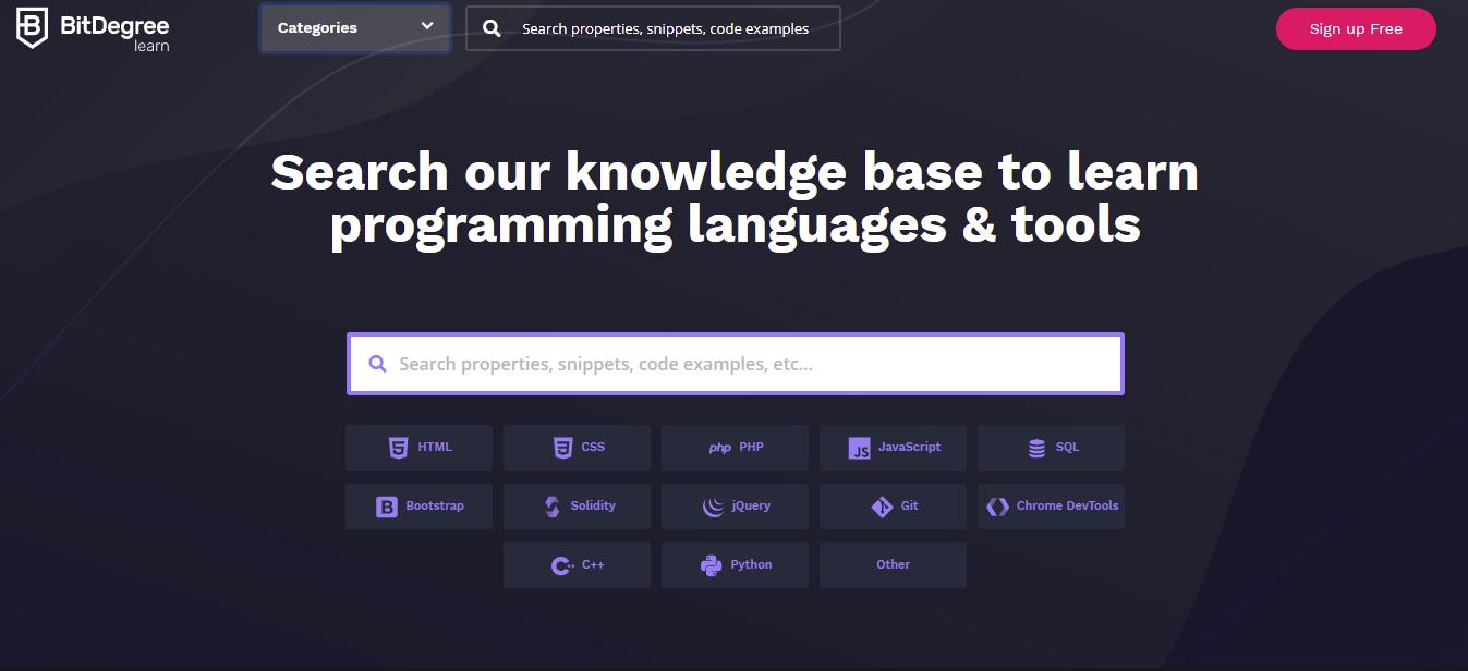 A screenshot showing BitDegree's homepage