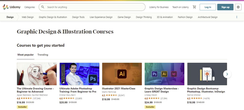 A screenshot showing Udemy's courses