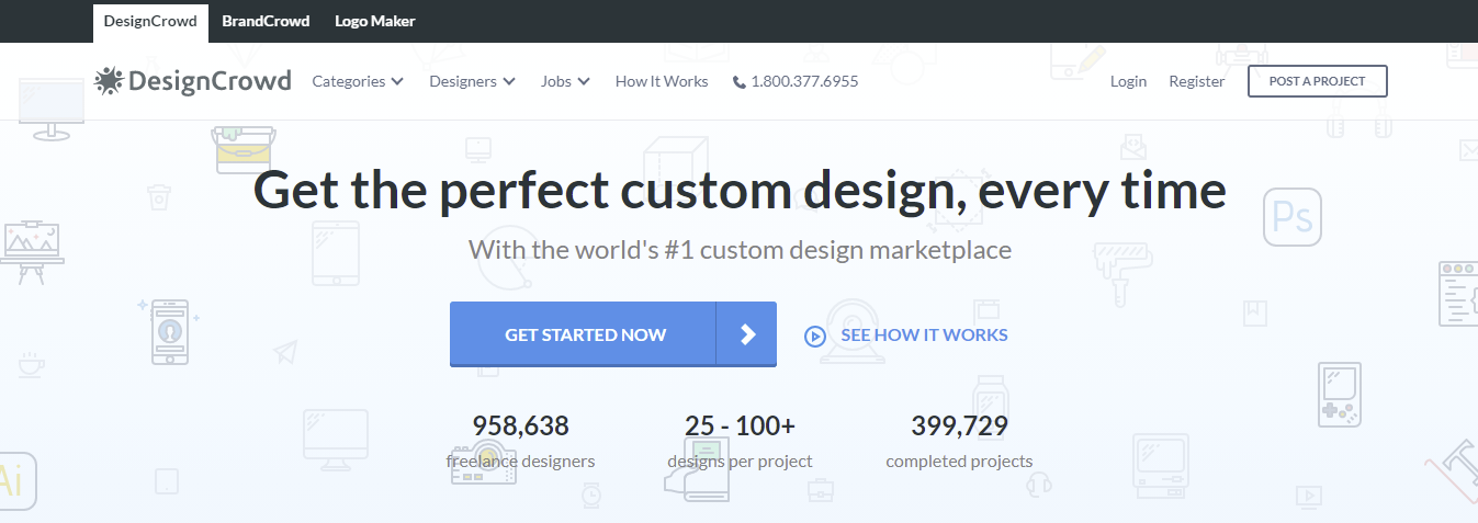 A screenshot showing DesignCrowd's homepage