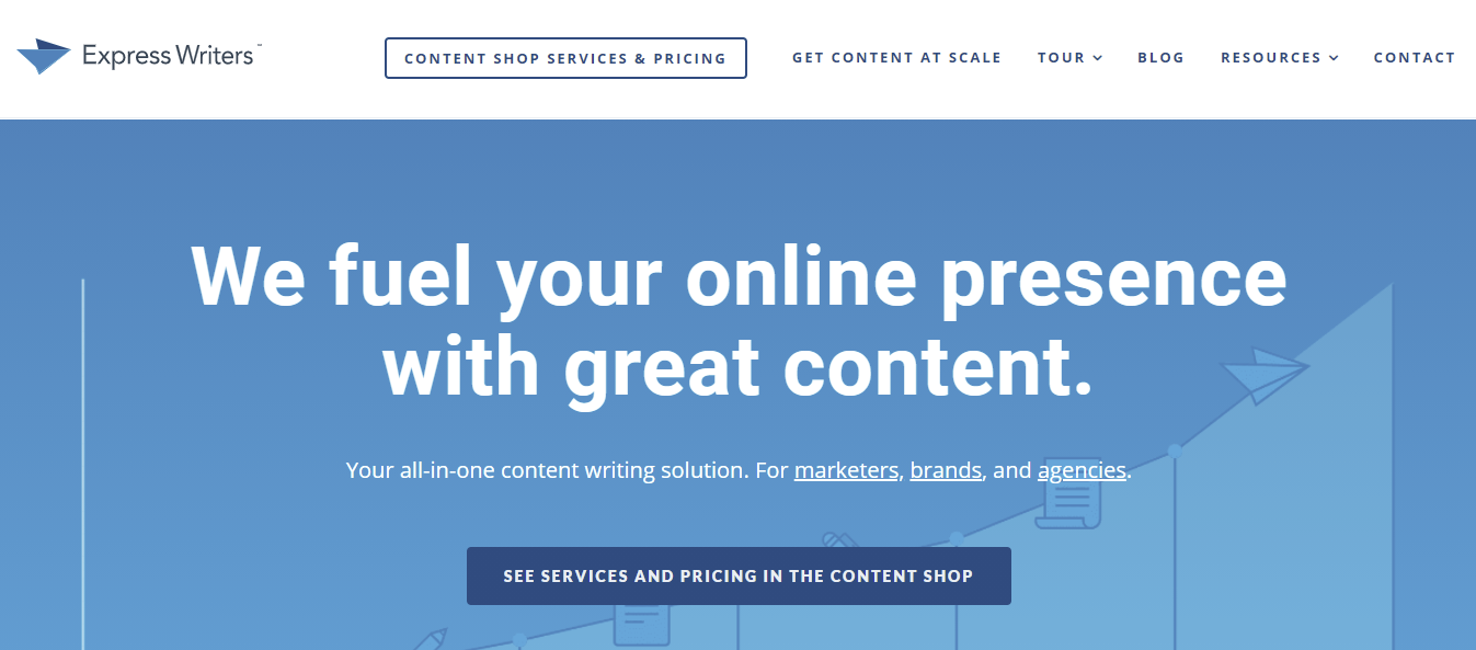A screenshot showing Express Writers's homepage