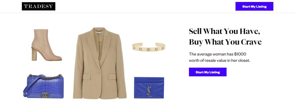 A screenshot showing Tradesy's homepage