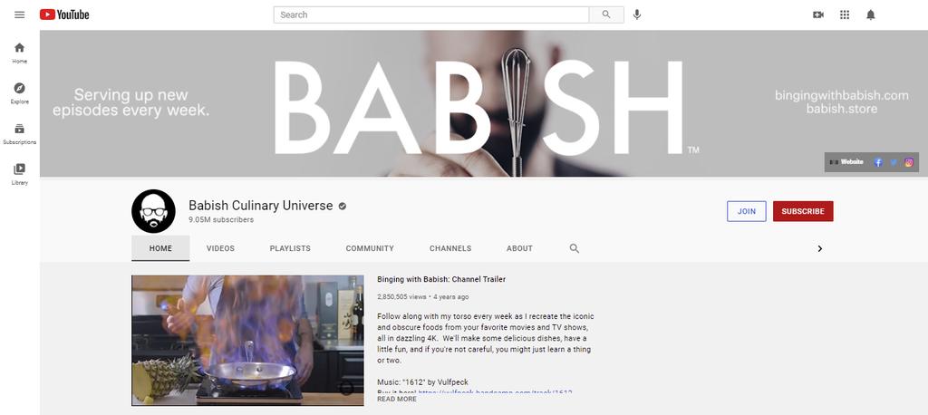A screenshot showing Babish Culinary Universe's YouTube page