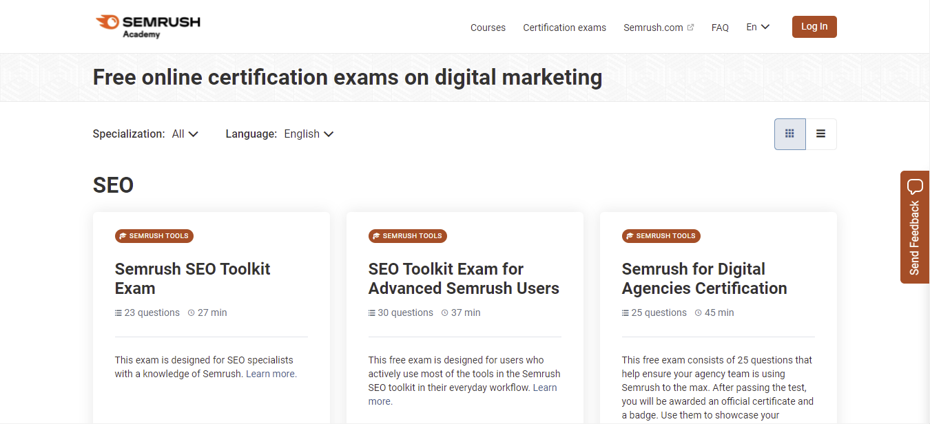 A screenshot showing SEMRush Academy's page