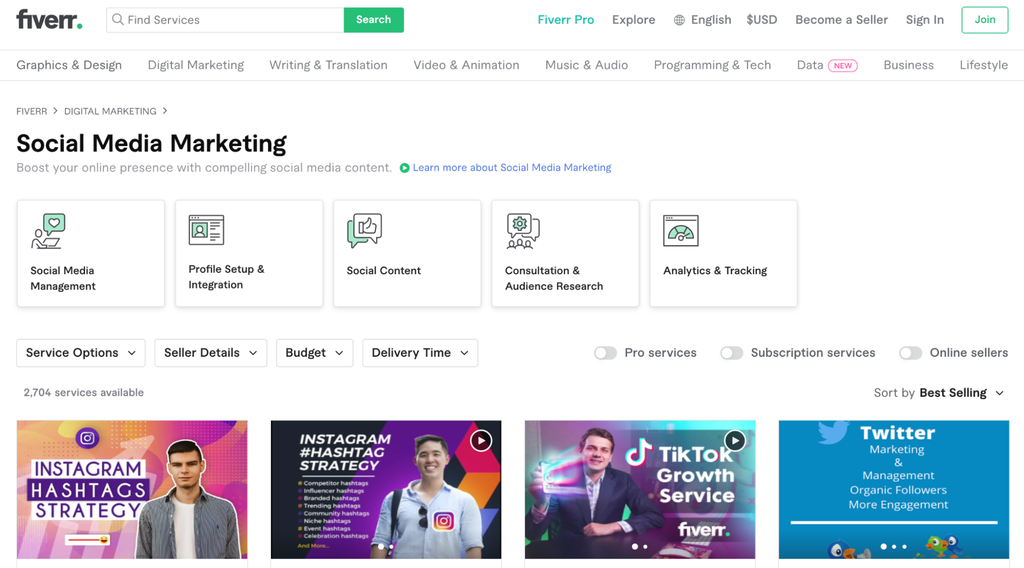 A screenshot showing social media marketing freelancers on Fiverr