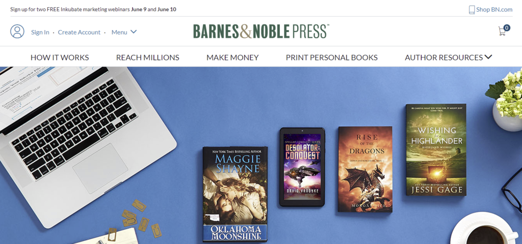 A screenshot showing Barnes and Noble Press's page