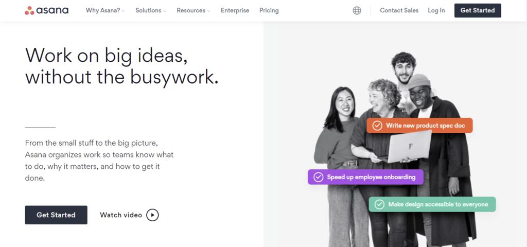 A screenshot showing asana's homepage