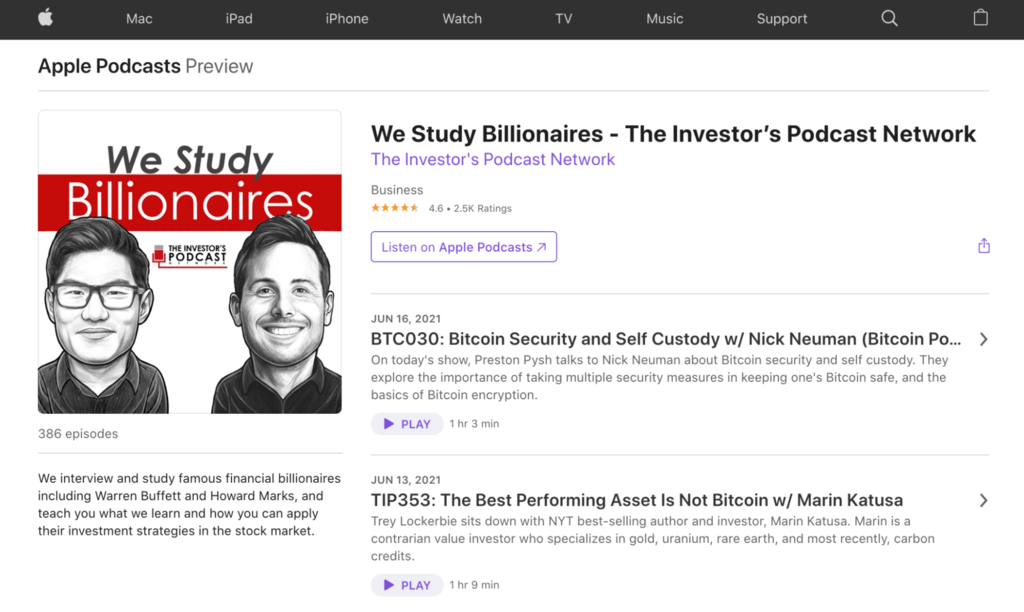 A screenshot showing We Study Billionaires's profile on Apple Podcasts
