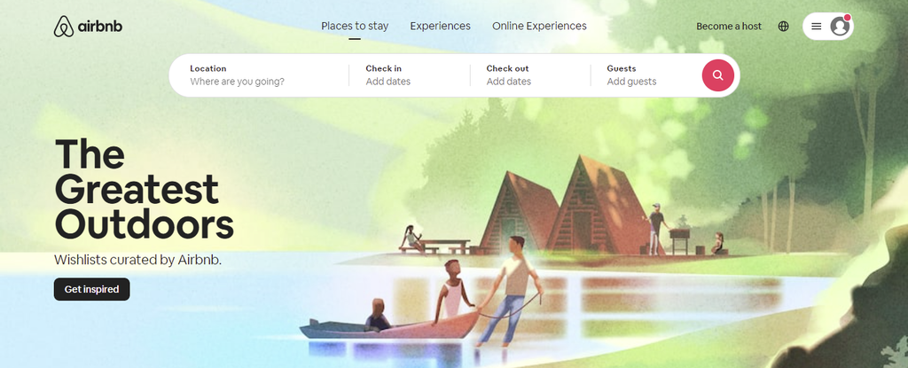 A screenshot showing Airbnb's homepage