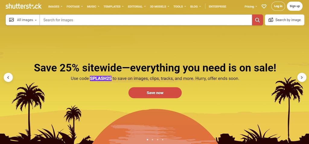 A screenshot showing Shutterstock's homepage