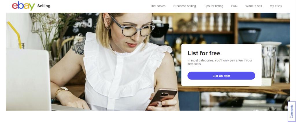 A screenshot showing eBay's homepage