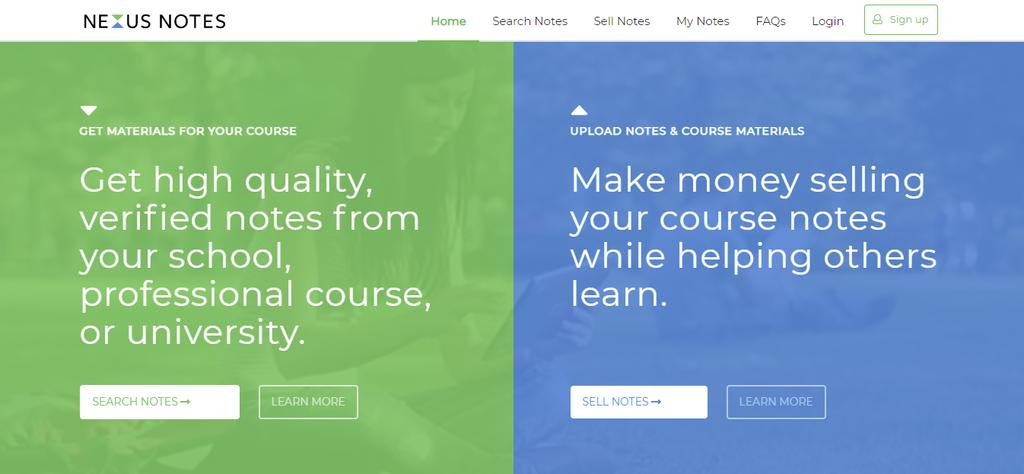 A screenshot showing Nexusnote's homepage