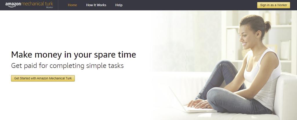 A screenshot showing Amazon mechanical turk's homepage
